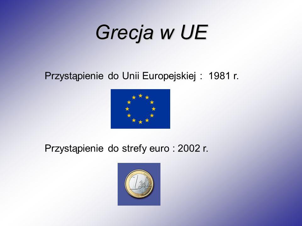 Grecja w UE Przystąpienie do Unii Europejskiej : 1981 r. Przystąpienie do strefy euro : 2002 r.