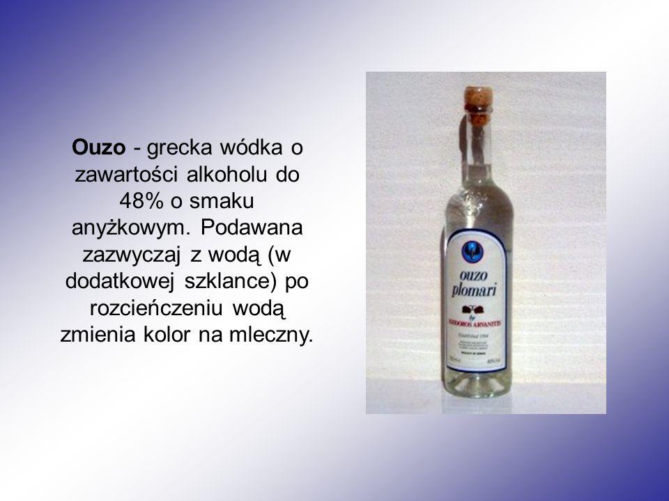 Ouzo - grecka wódka o zawartości alkoholu do 48% o smaku anyżkowym. Podawana zazwyczaj z wodą (w dodatkowej szklance) po rozcieńczeniu wodą zmienia ko