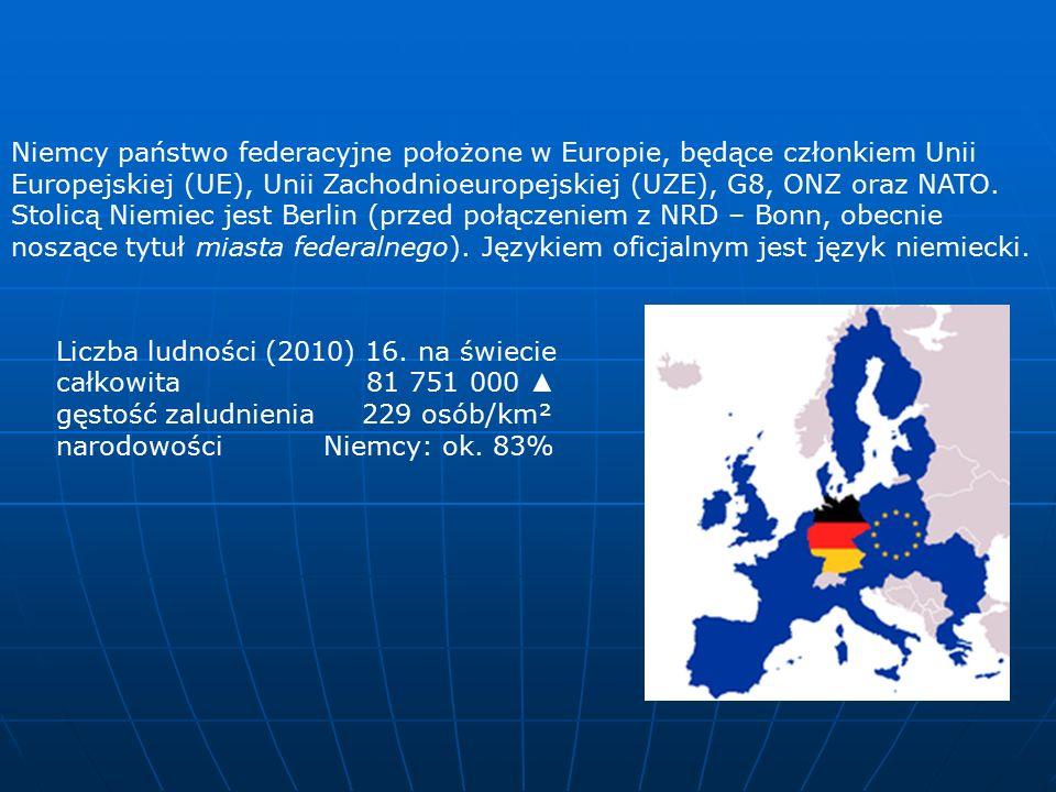Niemcy państwo federacyjne położone w Europie, będące członkiem Unii Europejskiej (UE), Unii Zachodnioeuropejskiej (UZE), G8, ONZ oraz NATO.