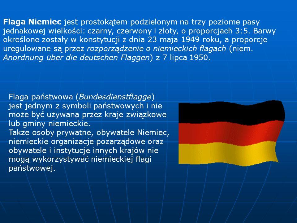 Flaga Niemiec jest prostokątem podzielonym na trzy poziome pasy jednakowej wielkości: czarny, czerwony i złoty, o proporcjach 3:5.