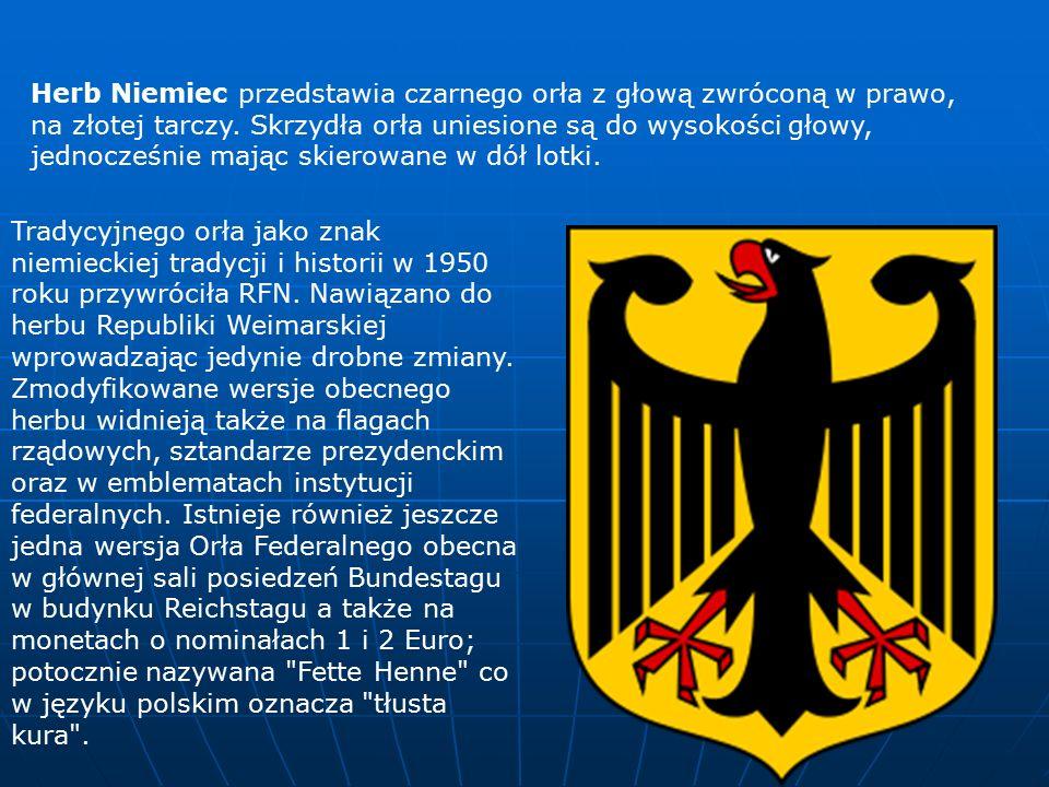 Herb Niemiec przedstawia czarnego orła z głową zwróconą w prawo, na złotej tarczy.