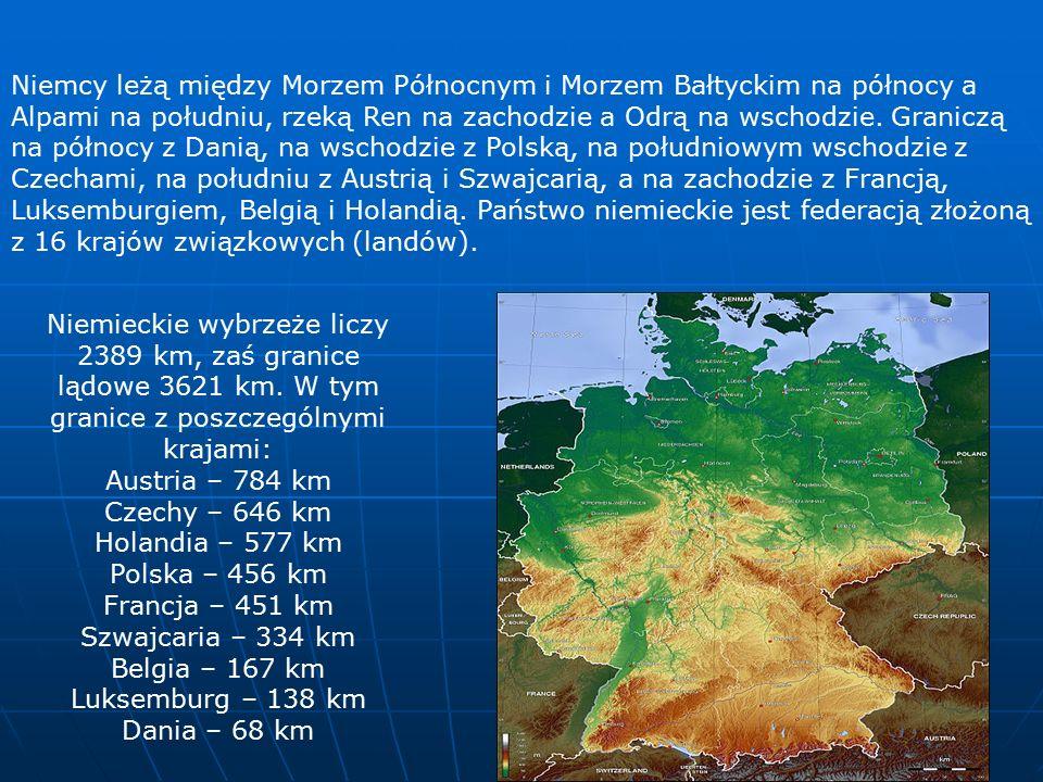 Niemcy leżą między Morzem Północnym i Morzem Bałtyckim na północy a Alpami na południu, rzeką Ren na zachodzie a Odrą na wschodzie.