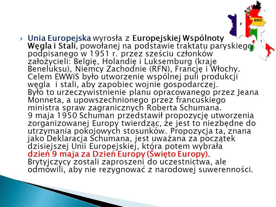  Unia Europejska wyrosła z Europejskiej Wspólnoty Węgla i Stali, powołanej na podstawie traktatu paryskiego, podpisanego w 1951 r.