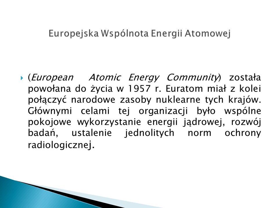  (European Atomic Energy Community) została powołana do życia w 1957 r.