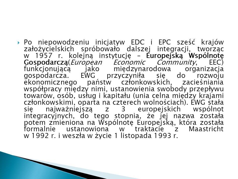  Po niepowodzeniu inicjatyw EDC i EPC sześć krajów założycielskich spróbowało dalszej integracji, tworząc w 1957 r.