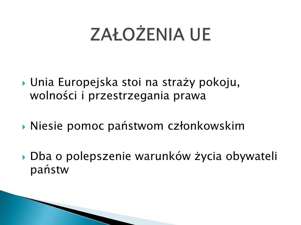  Unia Europejska stoi na straży pokoju, wolności i przestrzegania prawa  Niesie pomoc państwom członkowskim  Dba o polepszenie warunków życia obywateli państw