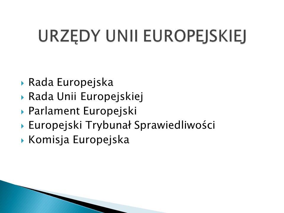  Rada Europejska  Rada Unii Europejskiej  Parlament Europejski  Europejski Trybunał Sprawiedliwości  Komisja Europejska