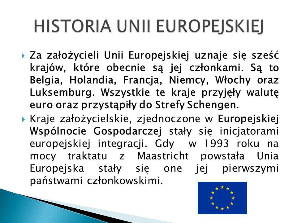  Za założycieli Unii Europejskiej uznaje się sześć krajów, które obecnie są jej członkami.