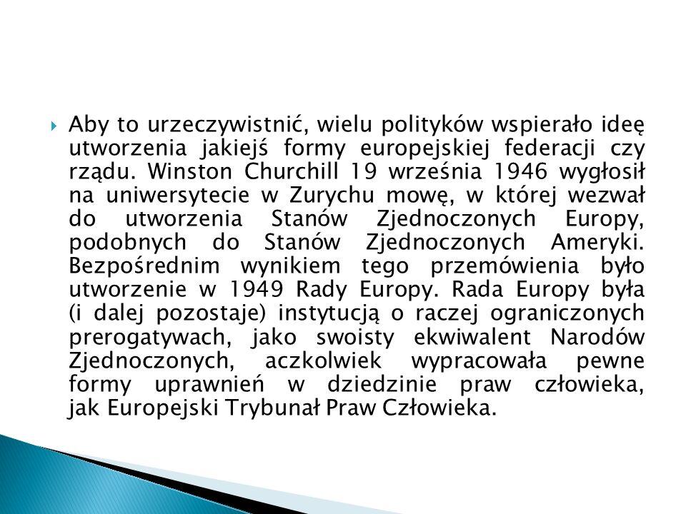  Aby to urzeczywistnić, wielu polityków wspierało ideę utworzenia jakiejś formy europejskiej federacji czy rządu.