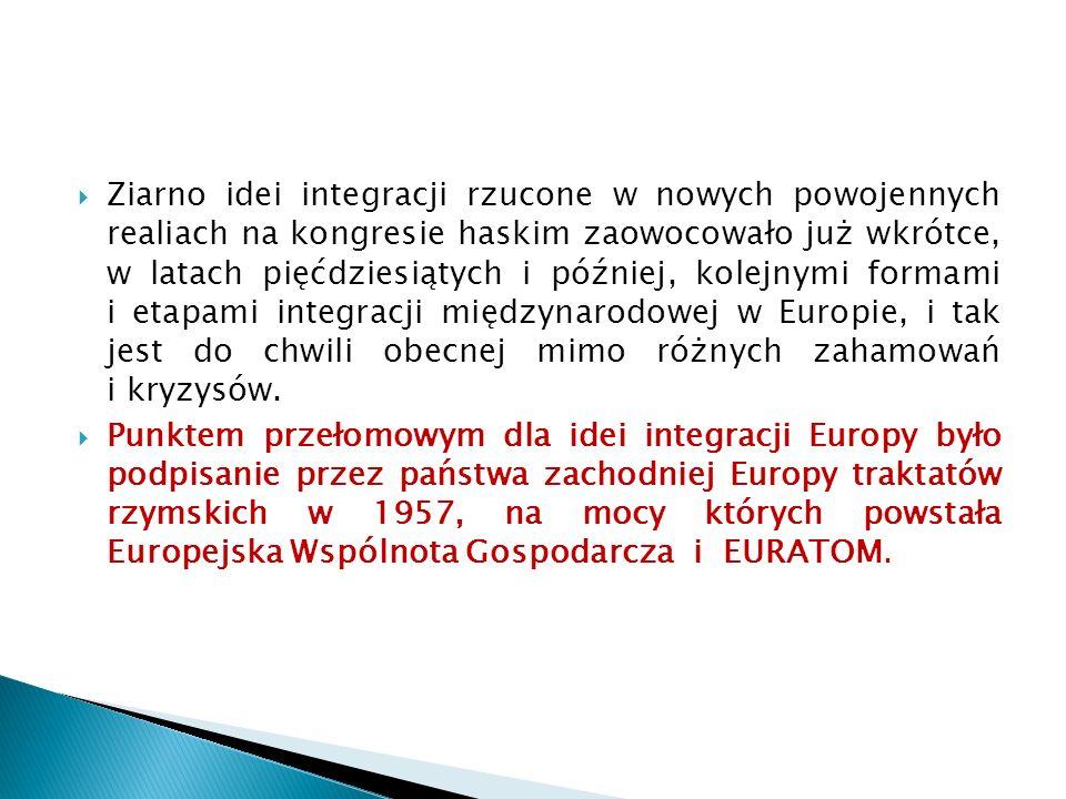  Ziarno idei integracji rzucone w nowych powojennych realiach na kongresie haskim zaowocowało już wkrótce, w latach pięćdziesiątych i później, kolejnymi formami i etapami integracji międzynarodowej w Europie, i tak jest do chwili obecnej mimo różnych zahamowań i kryzysów.