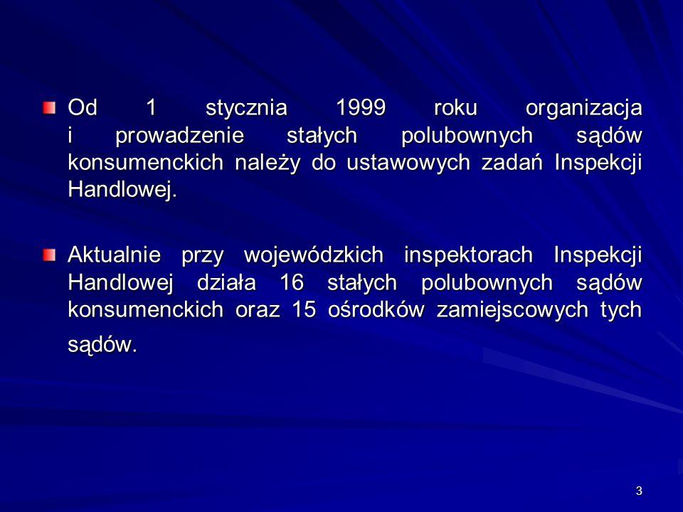 3 Od 1 stycznia 1999 roku organizacja i prowadzenie stałych polubownych sądów konsumenckich należy do ustawowych zadań Inspekcji Handlowej. Aktualnie