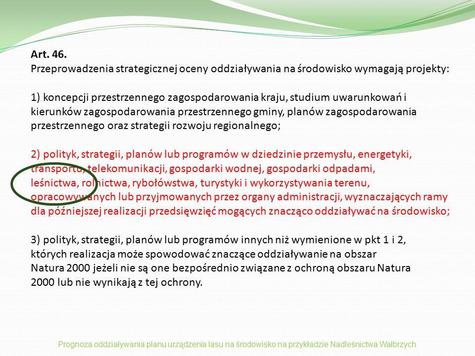 Inne aspekty ochrony przyrody i środowiska podjęte w prognozie  Ogólna analiza wpływu zawartości planu urządzenia lasu na główne składniki środowiska oraz ludzi.