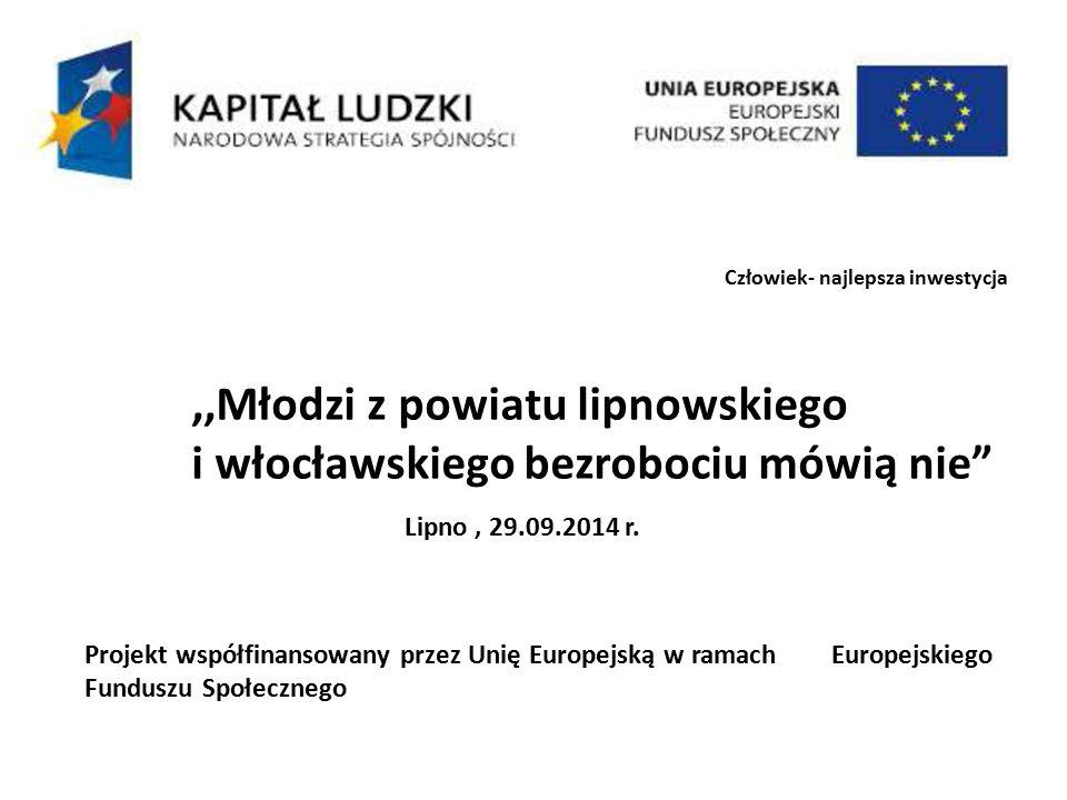 Człowiek- najlepsza inwestycja,,Młodzi z powiatu lipnowskiego i włocławskiego bezrobociu mówią nie Lipno, 29.09.2014 r.