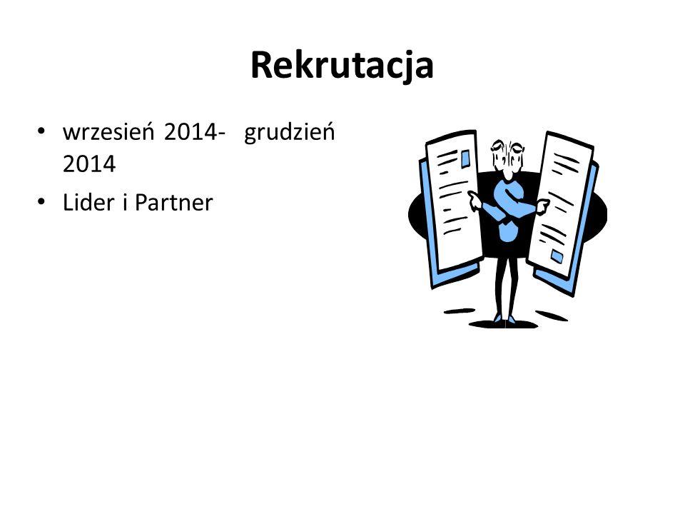 Rekrutacja wrzesień 2014- grudzień 2014 Lider i Partner