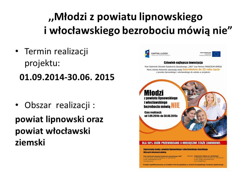 ,,Młodzi z powiatu lipnowskiego i włocławskiego bezrobociu mówią nie Termin realizacji projektu: 01.09.2014-30.06.