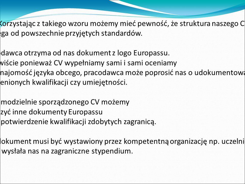 Ko Korzystając z takiego wzoru możemy mieć pewność, że struktura naszego CV nie odbiega od powszechnie przyjętych standardów.