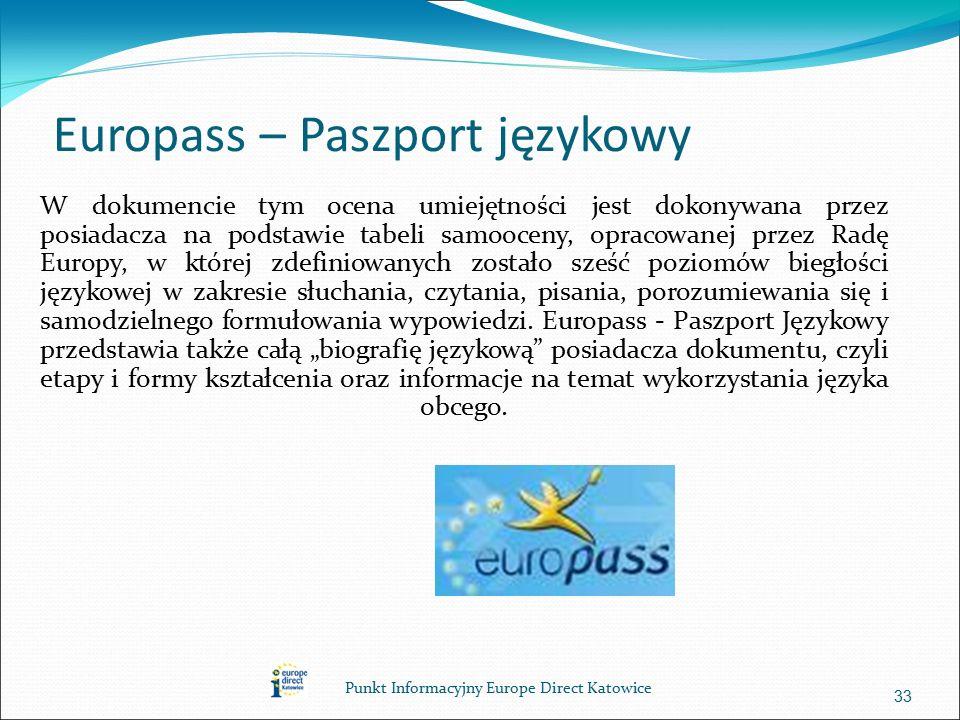 Europass – Paszport językowy W dokumencie tym ocena umiejętności jest dokonywana przez posiadacza na podstawie tabeli samooceny, opracowanej przez Radę Europy, w której zdefiniowanych zostało sześć poziomów biegłości językowej w zakresie słuchania, czytania, pisania, porozumiewania się i samodzielnego formułowania wypowiedzi.