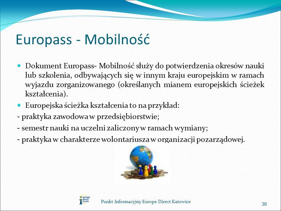Europass - Mobilność Dokument Europass- Mobilność służy do potwierdzenia okresów nauki lub szkolenia, odbywających się w innym kraju europejskim w ramach wyjazdu zorganizowanego (określanych mianem europejskich ścieżek kształcenia).