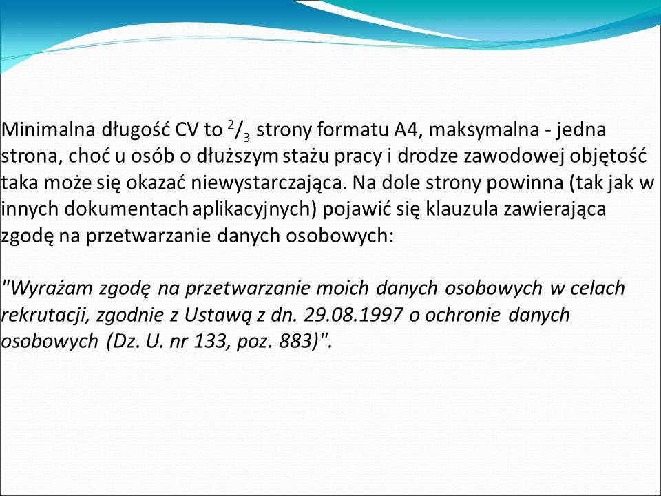 Układ C.V.: a) układ chronologiczny b) układ celowy c) układ funkcjonalny
