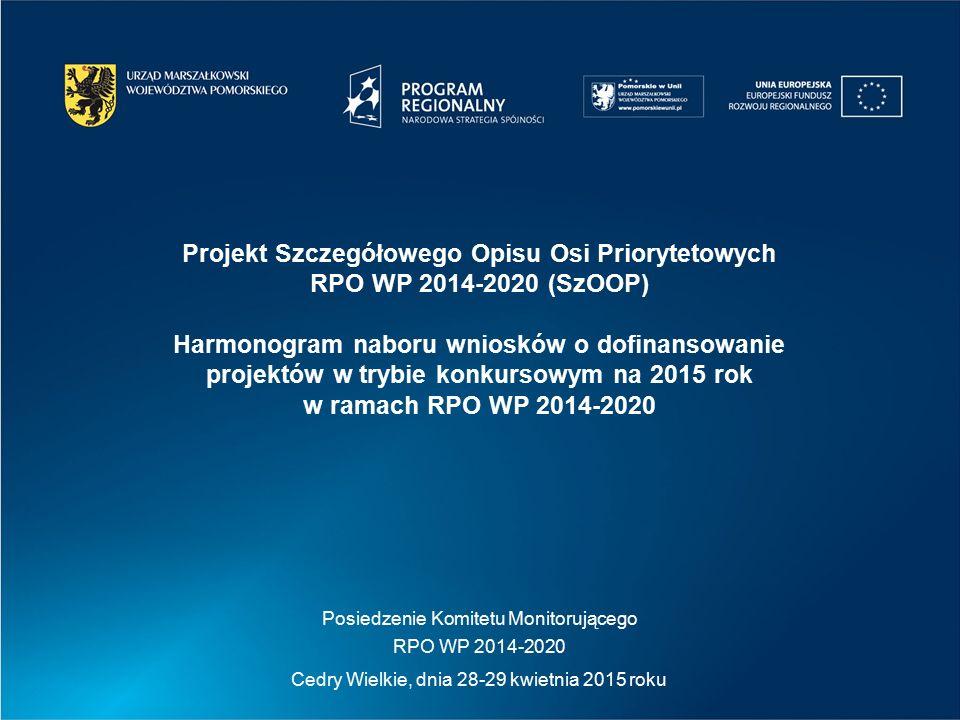 Posiedzenie Komitetu Monitorującego RPO WP 2014-2020 Cedry Wielkie, dnia 28-29 kwietnia 2015 roku Projekt Szczegółowego Opisu Osi Priorytetowych RPO WP 2014-2020 (SzOOP) Harmonogram naboru wniosków o dofinansowanie projektów w trybie konkursowym na 2015 rok w ramach RPO WP 2014-2020