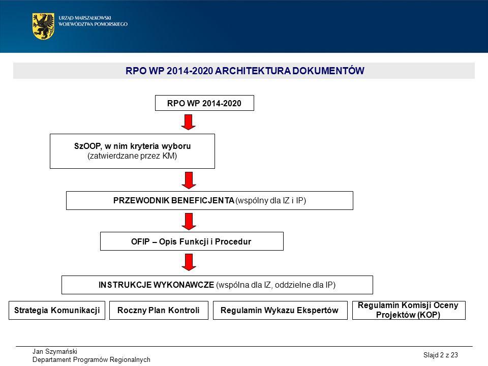 Jan Szymański Departament Programów Regionalnych Slajd 3 z 23 SzOOP RPO WP 2014-2020 – HARMONOGRAM PRAC 1.10 marca 2015 r.