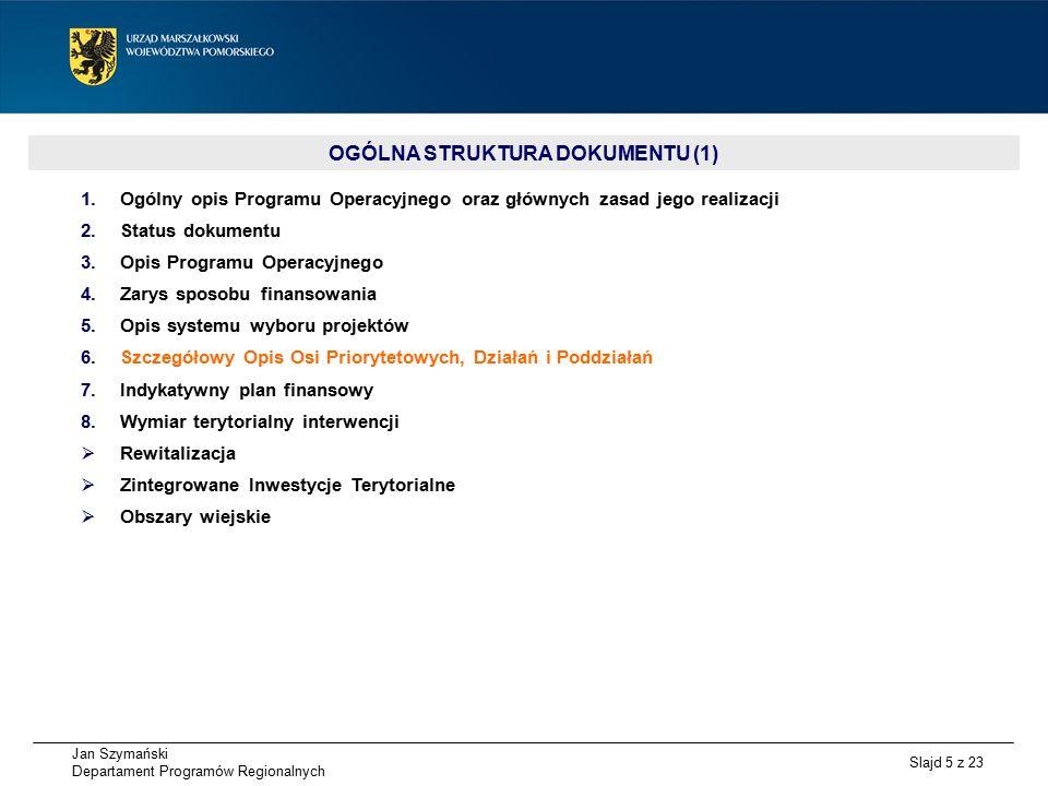 Jan Szymański Departament Programów Regionalnych Slajd 5 z 23 OGÓLNA STRUKTURA DOKUMENTU (1) 1.Ogólny opis Programu Operacyjnego oraz głównych zasad jego realizacji 2.Status dokumentu 3.Opis Programu Operacyjnego 4.Zarys sposobu finansowania 5.Opis systemu wyboru projektów 6.Szczegółowy Opis Osi Priorytetowych, Działań i Poddziałań 7.Indykatywny plan finansowy 8.Wymiar terytorialny interwencji  Rewitalizacja  Zintegrowane Inwestycje Terytorialne  Obszary wiejskie