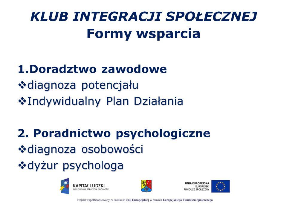 KLUB INTEGRACJI SPOŁECZNEJ Formy wsparcia 1.Doradztwo zawodowe  diagnoza potencjału  Indywidualny Plan Działania 2. Poradnictwo psychologiczne  dia
