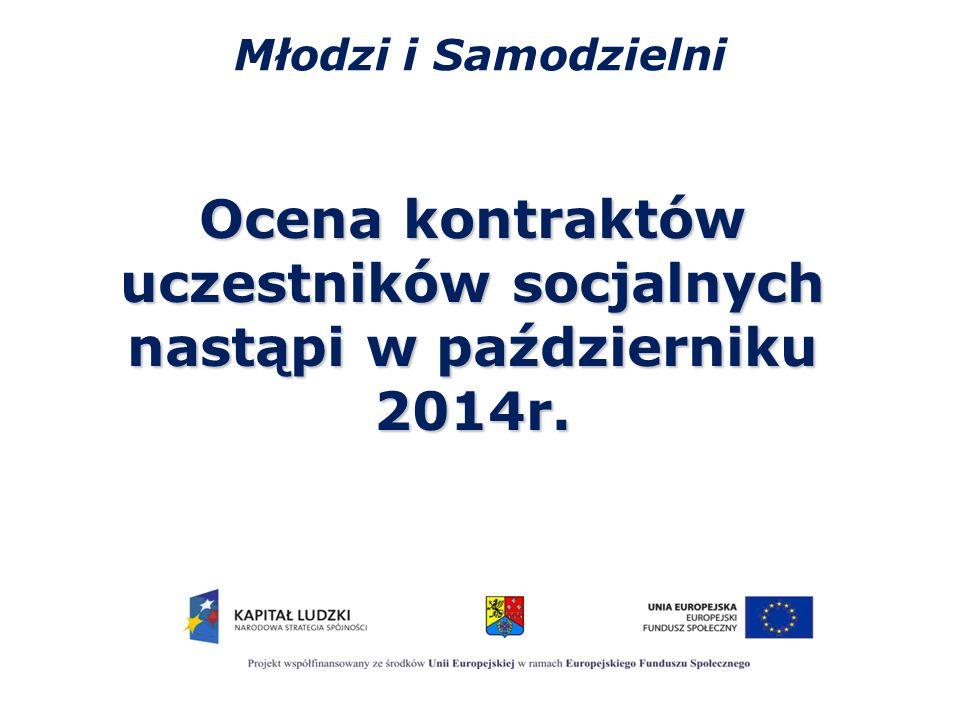 Młodzi i Samodzielni Ocena kontraktów uczestników socjalnych nastąpi w październiku 2014r.