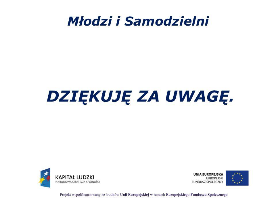Młodzi i Samodzielni DZIĘKUJĘ ZA UWAGĘ.