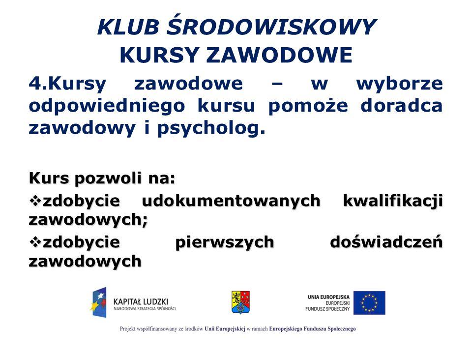 KLUB ŚRODOWISKOWY KURSY ZAWODOWE 4.Kursy zawodowe – w wyborze odpowiedniego kursu pomoże doradca zawodowy i psycholog.