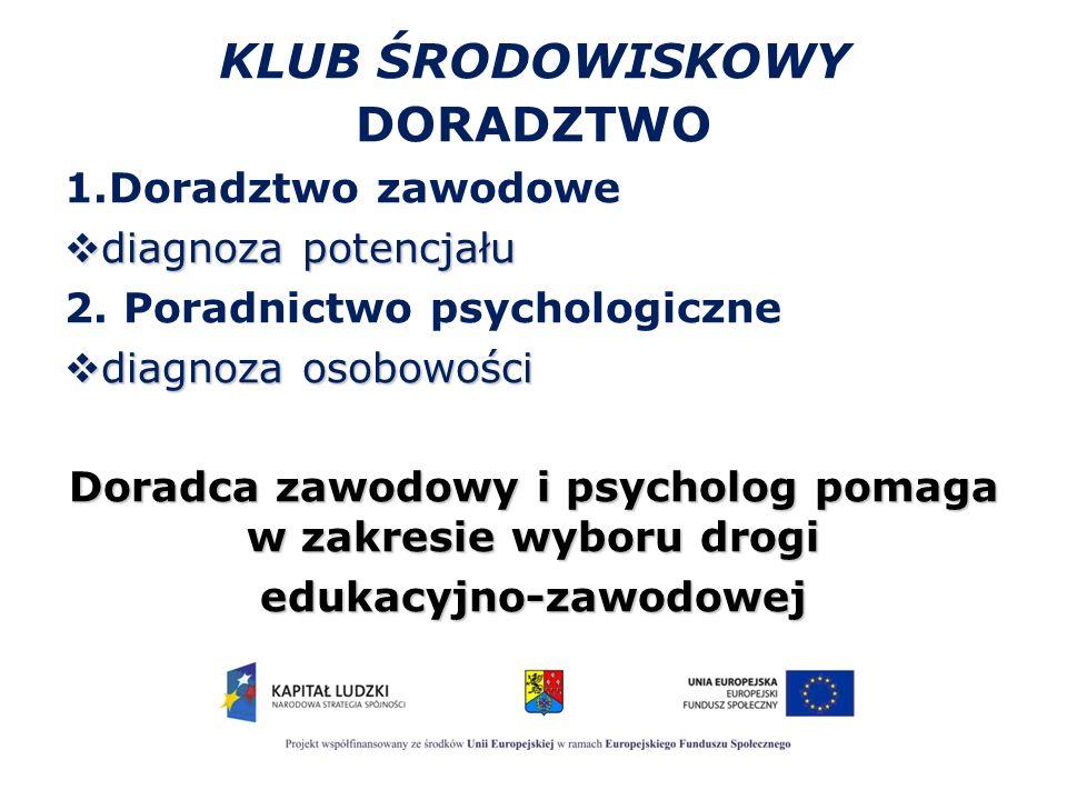 KLUB ŚRODOWISKOWY DORADZTWO 1.Doradztwo zawodowe  diagnoza potencjału 2. Poradnictwo psychologiczne  diagnoza osobowości Doradca zawodowy i psycholo