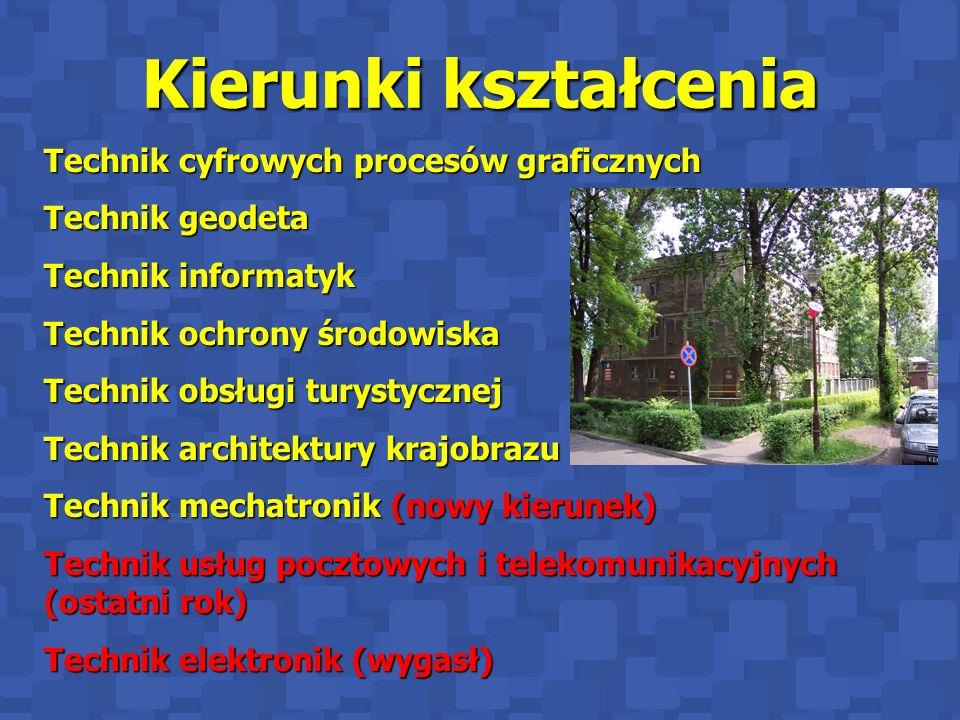 Kierunki kształcenia Technik cyfrowych procesów graficznych Technik geodeta Technik informatyk Technik ochrony środowiska Technik obsługi turystycznej
