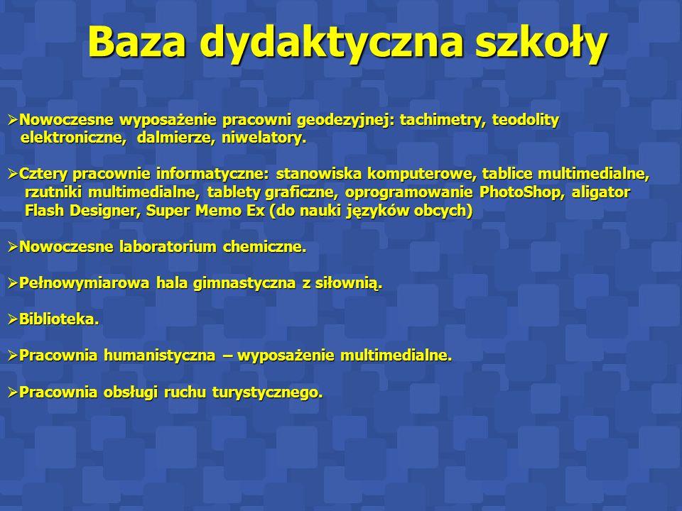 Baza dydaktyczna szkoły Baza dydaktyczna szkoły  Nowoczesne wyposażenie pracowni geodezyjnej: tachimetry, teodolity elektroniczne, dalmierze, niwelatory.