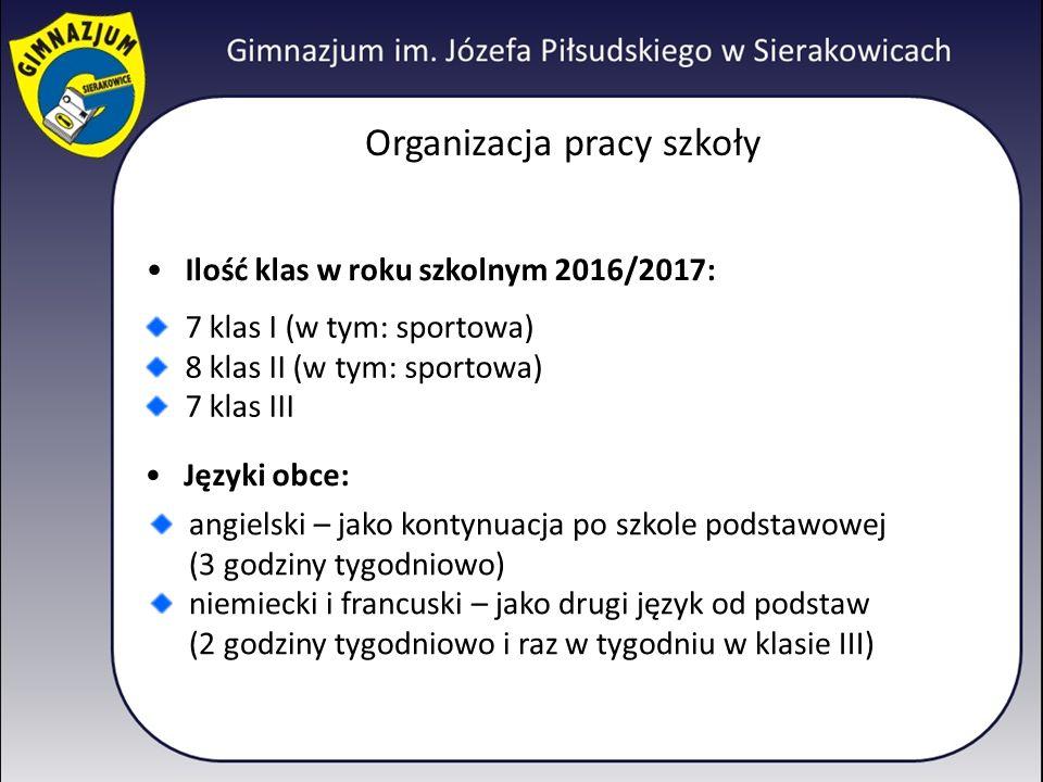 Organizacja pracy szkoły Ilość klas w roku szkolnym 2016/2017: 7 klas I (w tym: sportowa) 8 klas II (w tym: sportowa) 7 klas III Języki obce: angielski – jako kontynuacja po szkole podstawowej (3 godziny tygodniowo) niemiecki i francuski – jako drugi język od podstaw (2 godziny tygodniowo i raz w tygodniu w klasie III)