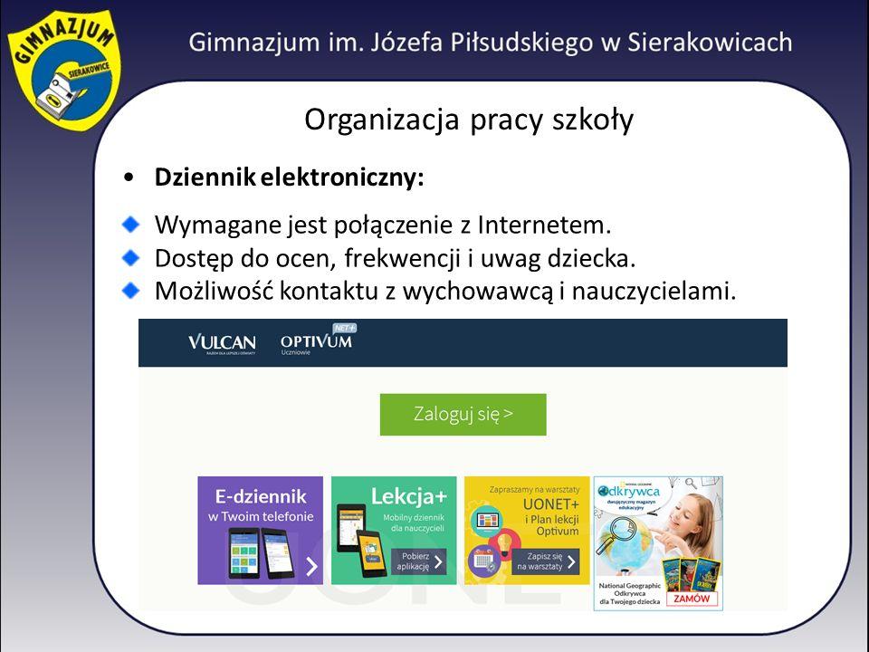 Organizacja pracy szkoły Dziennik elektroniczny: Wymagane jest połączenie z Internetem.