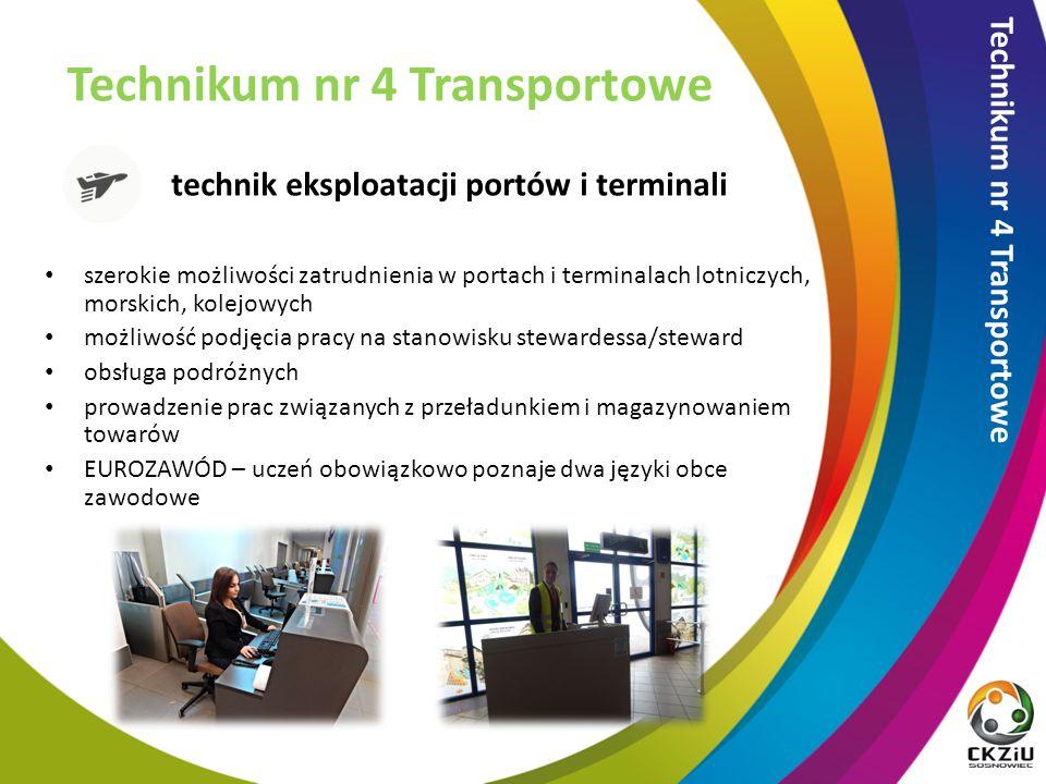 technik eksploatacji portów i terminali Technikum nr 4 Transportowe szerokie możliwości zatrudnienia w portach i terminalach lotniczych, morskich, kolejowych możliwość podjęcia pracy na stanowisku stewardessa/steward obsługa podróżnych prowadzenie prac związanych z przeładunkiem i magazynowaniem towarów EUROZAWÓD – uczeń obowiązkowo poznaje dwa języki obce zawodowe