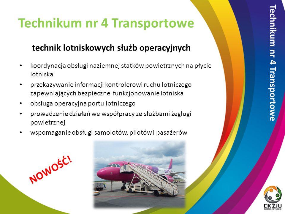 technik lotniskowych służb operacyjnych Technikum nr 4 Transportowe NOWOŚĆ.