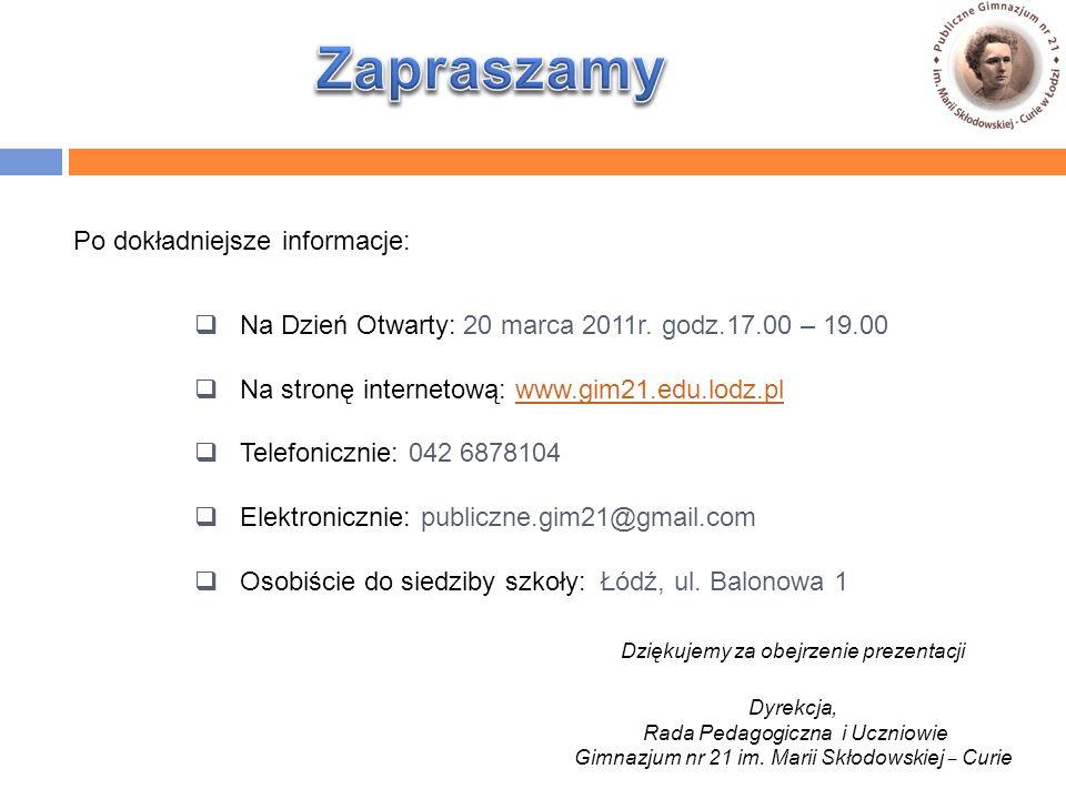  Na Dzień Otwarty: 20 marca 2011r.