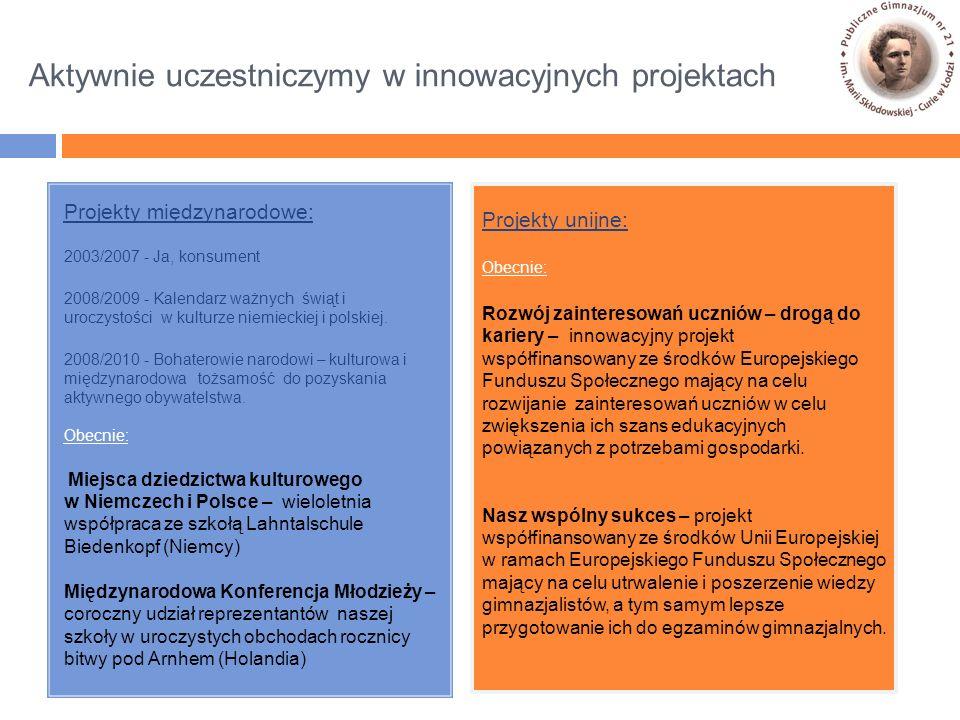 Projekty międzynarodowe: 2003/2007 - Ja, konsument 2008/2009 - Kalendarz ważnych świąt i uroczystości w kulturze niemieckiej i polskiej.