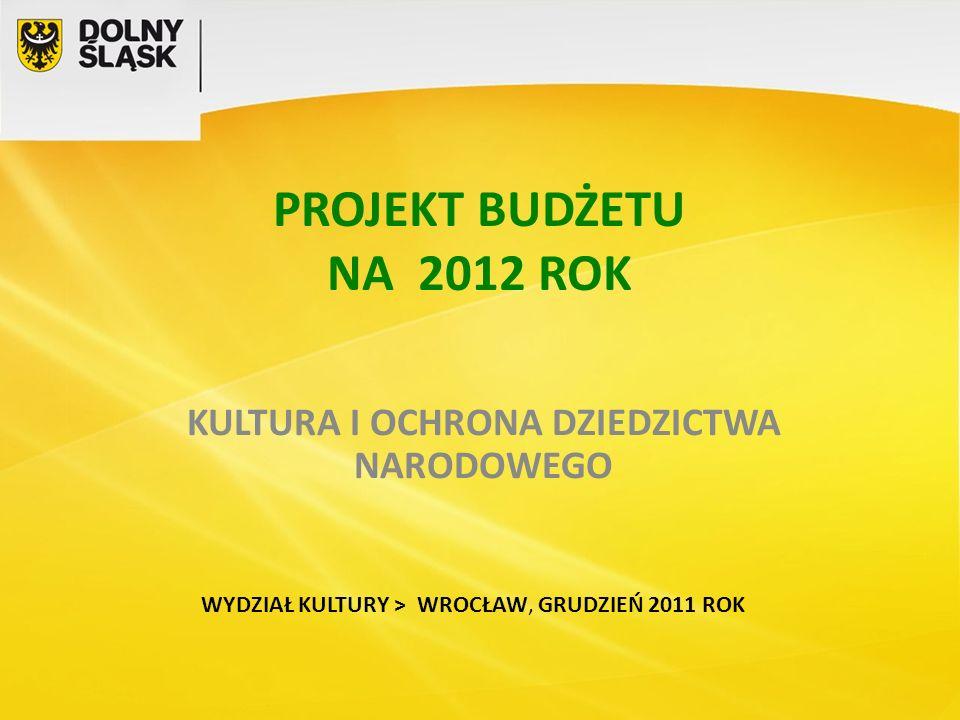 KULTURA I OCHRONA DZIEDZICTWA NARODOWEGO WYDZIAŁ KULTURY > WROCŁAW, GRUDZIEŃ 2011 ROK PROJEKT BUDŻETU NA 2012 ROK