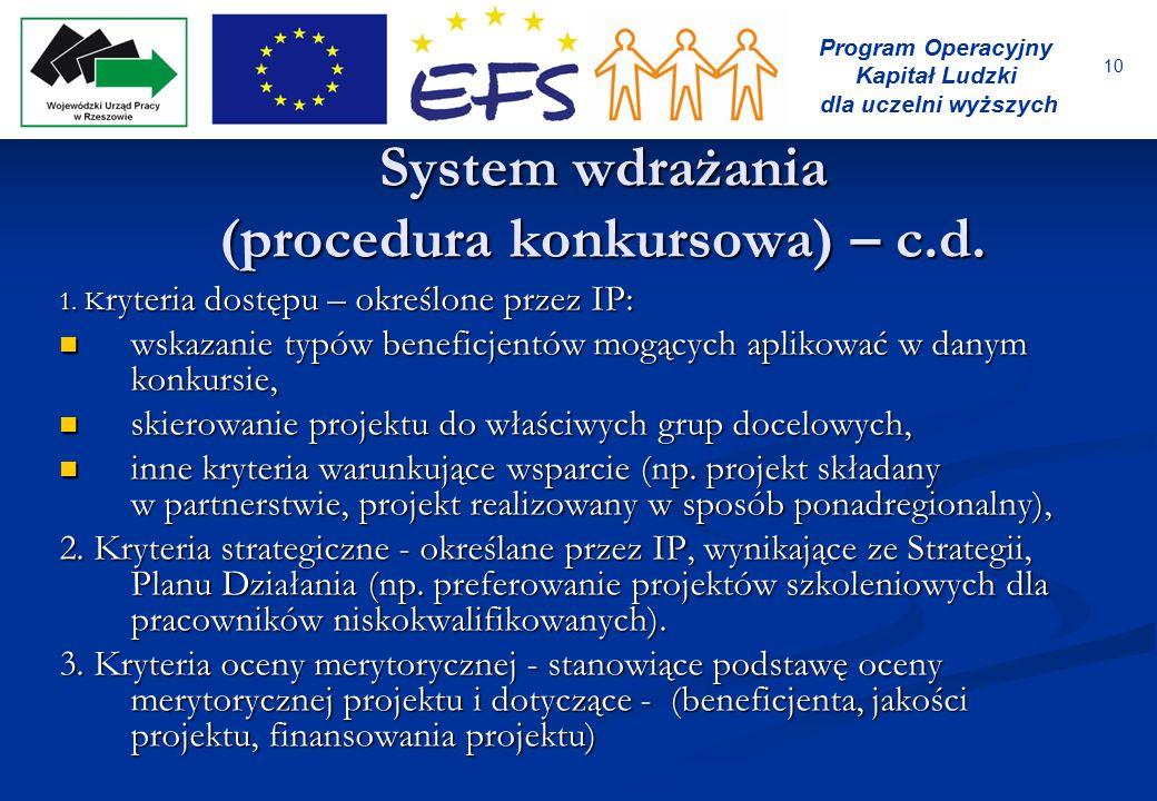 10 Program Operacyjny Kapitał Ludzki dla uczelni wyższych System wdrażania (procedura konkursowa) – c.d. 1. K ryteria dostępu – określone przez IP: ws