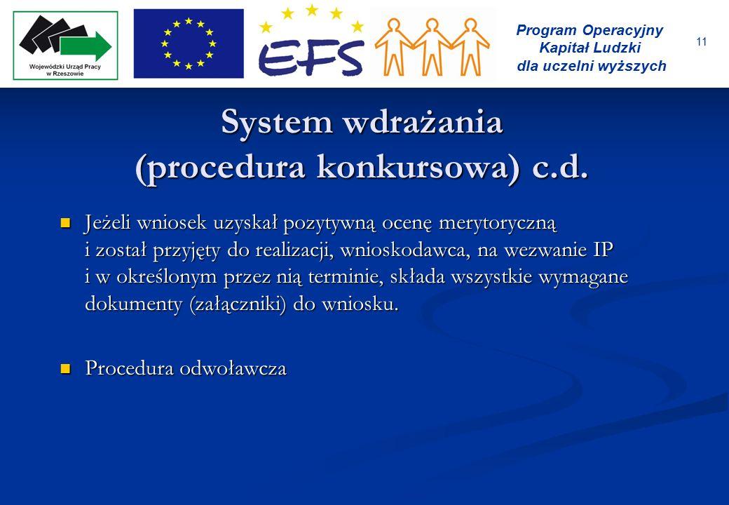 11 Program Operacyjny Kapitał Ludzki dla uczelni wyższych System wdrażania (procedura konkursowa) c.d. Jeżeli wniosek uzyskał pozytywną ocenę merytory