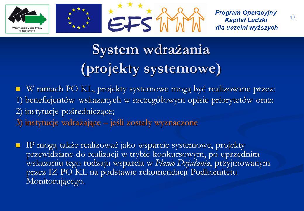 12 Program Operacyjny Kapitał Ludzki dla uczelni wyższych System wdrażania (projekty systemowe) W ramach PO KL, projekty systemowe mogą być realizowan