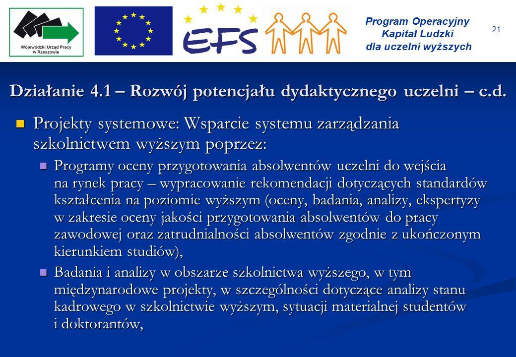 21 Program Operacyjny Kapitał Ludzki dla uczelni wyższych Projekty systemowe: Wsparcie systemu zarządzania szkolnictwem wyższym poprzez: Projekty syst