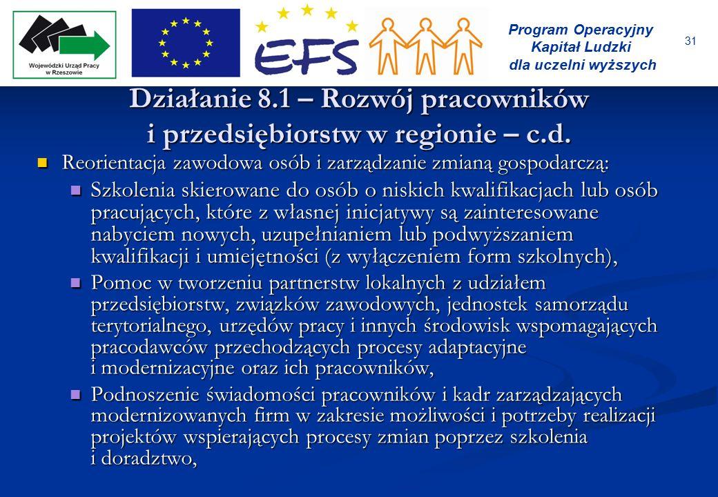 31 Program Operacyjny Kapitał Ludzki dla uczelni wyższych Działanie 8.1 – Rozwój pracowników i przedsiębiorstw w regionie – c.d. Reorientacja zawodowa