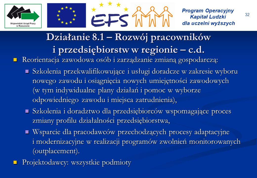 32 Program Operacyjny Kapitał Ludzki dla uczelni wyższych Działanie 8.1 – Rozwój pracowników i przedsiębiorstw w regionie – c.d. Reorientacja zawodowa