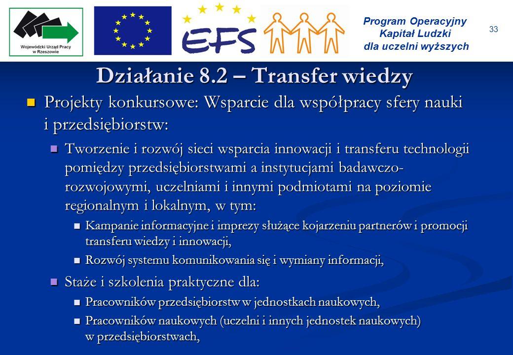 33 Program Operacyjny Kapitał Ludzki dla uczelni wyższych Działanie 8.2 – Transfer wiedzy Projekty konkursowe: Wsparcie dla współpracy sfery nauki i p