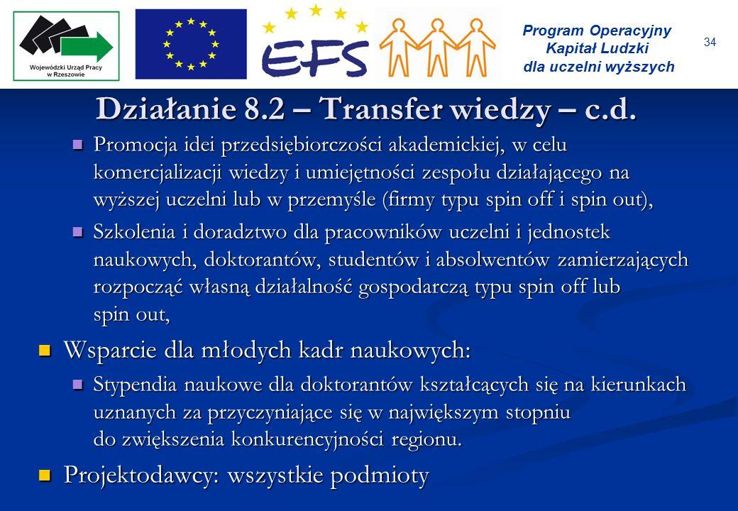 34 Program Operacyjny Kapitał Ludzki dla uczelni wyższych Działanie 8.2 – Transfer wiedzy – c.d. Promocja idei przedsiębiorczości akademickiej, w celu
