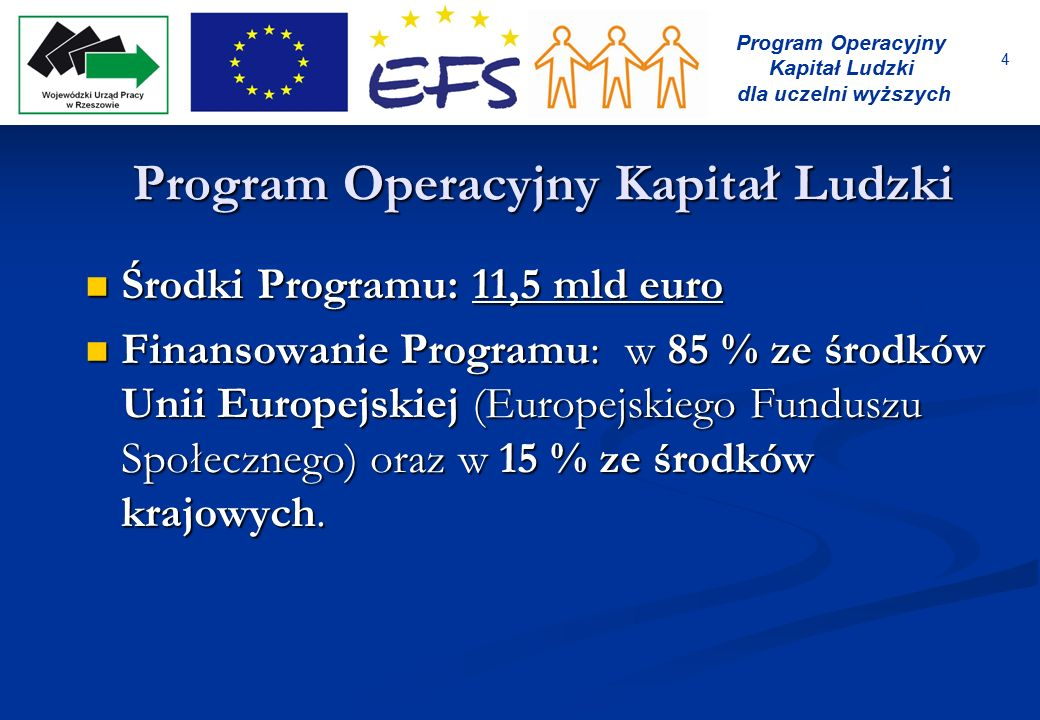 4 Program Operacyjny Kapitał Ludzki dla uczelni wyższych Program Operacyjny Kapitał Ludzki Środki Programu: 11,5 mld euro Środki Programu: 11,5 mld eu