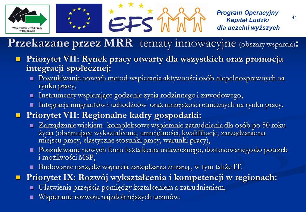 41 Program Operacyjny Kapitał Ludzki dla uczelni wyższych Przekazane przez MRR tematy innowacyjne (obszary wsparcia) : Priorytet VII: Rynek pracy otwa